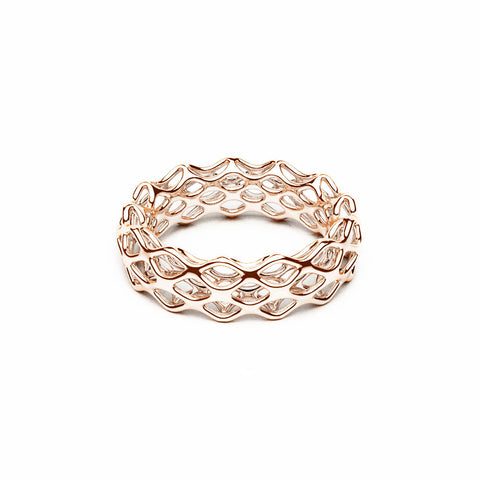The GRID Ring | Double Slim | 14k Rose Gold Sterling