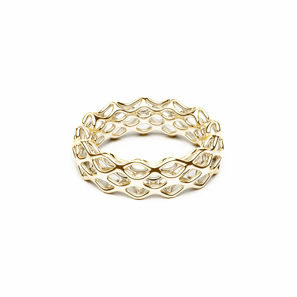 The Grid Ring | Double Slim | 18k Gold Sterling