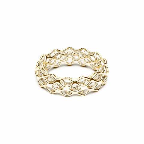 The GRID Ring | Double Slim | 14k Gold Sterling