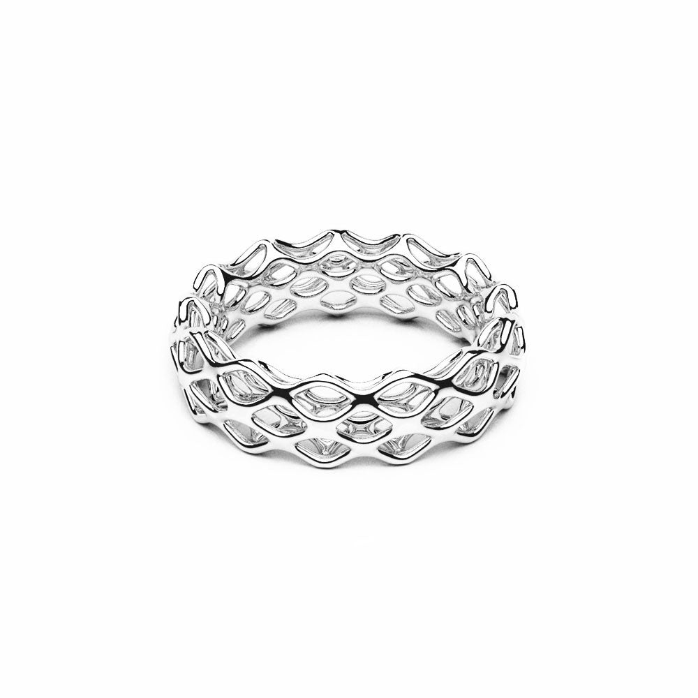 The GRID Ring | Double Slim | Platinum Sterling