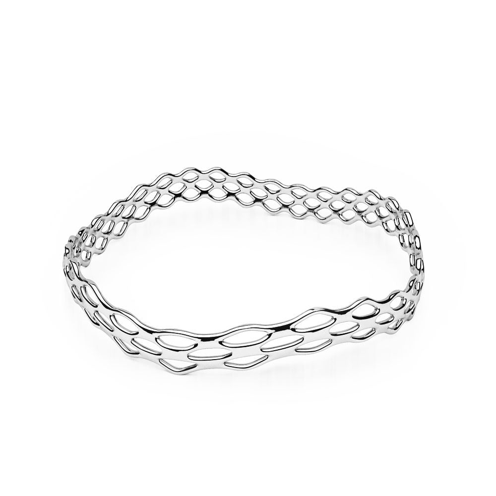 The GRID Bangle | Slim Wave | Platinum Sterling