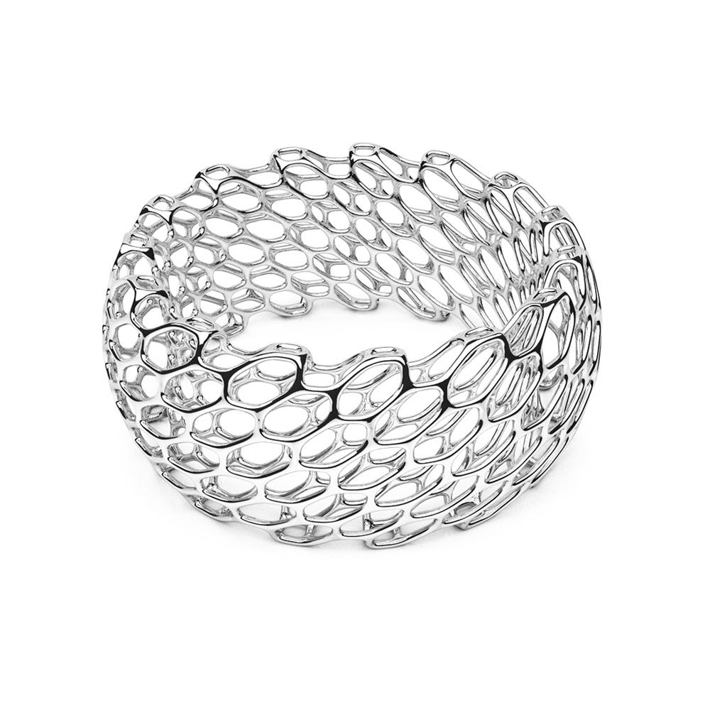 The Hive Bangle | Double Wide | Platinum Sterling