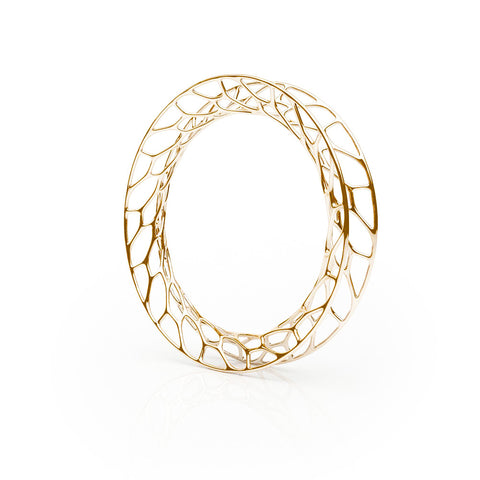 The HIVE Bangle Flared in 3D Printed 18k Gold Finished 925 Sterling SIlver