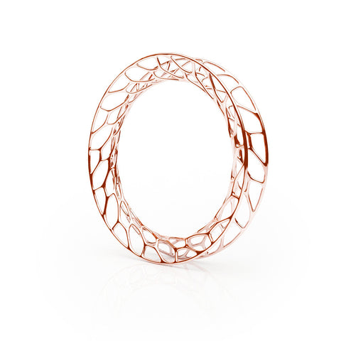 The HIVE Bangle Flared in 3D Printed 18k Rose Gold Finished 925 Sterling SIlver