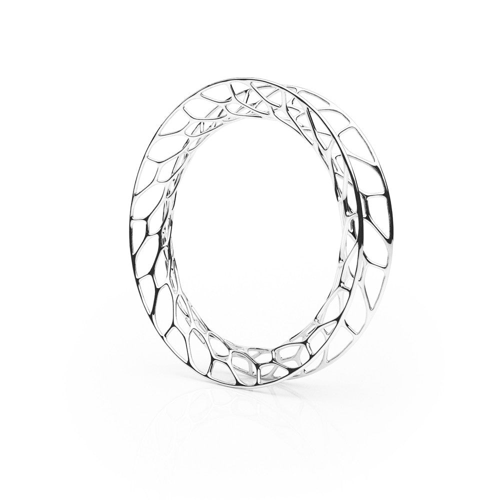 The Hive Bangle | Flared | Platinum Sterling
