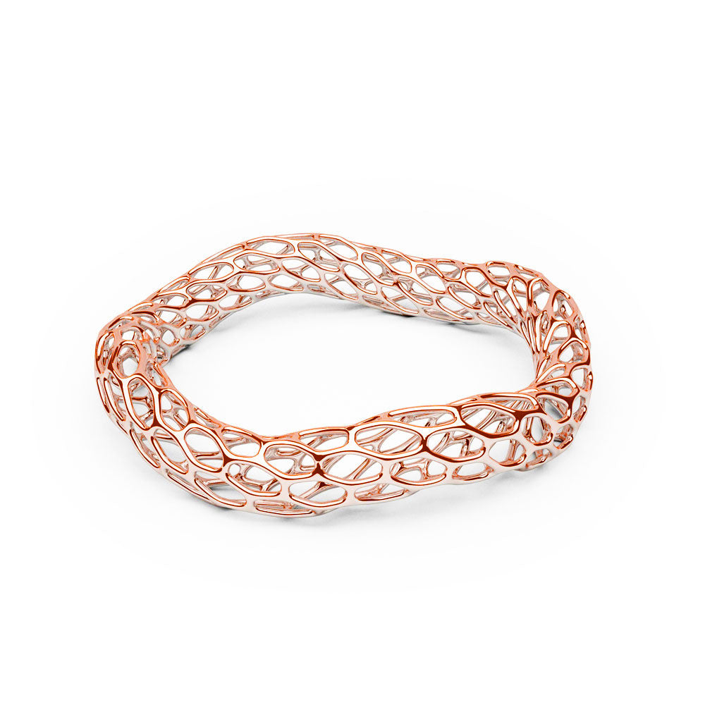 The Hive Bangle | Double Wave | 14k Rose Gold...