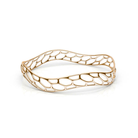 The HIVE Bangle | Slim Wave | 14k Gold Sterling