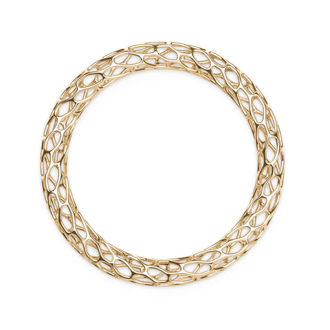 The HIVE Bangle Double Wave in 3D Printed 18k Gold Finished 925 Sterling SIlver