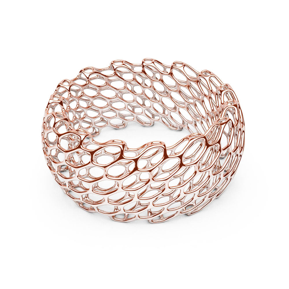 The Hive Bangle | Double Wide | 14k Rose Gold...