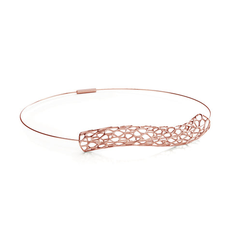 The HIVE Necklace Wave Collar in 3D Printed 14k Rose Gold Finished 925 Sterling SIlver