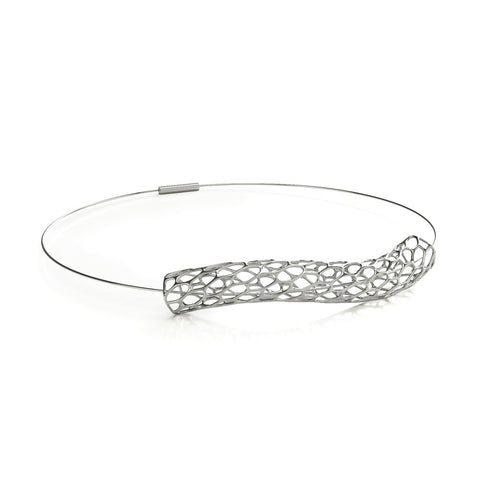 The HIVE Necklace Wave Collar in 3D Printed Platinum Finished 925 Sterling SIlver