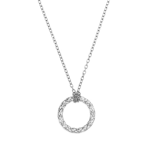 The HIVE Necklace Loop Wave in 3D Printed Platinum Finished 925 Sterling SIlver