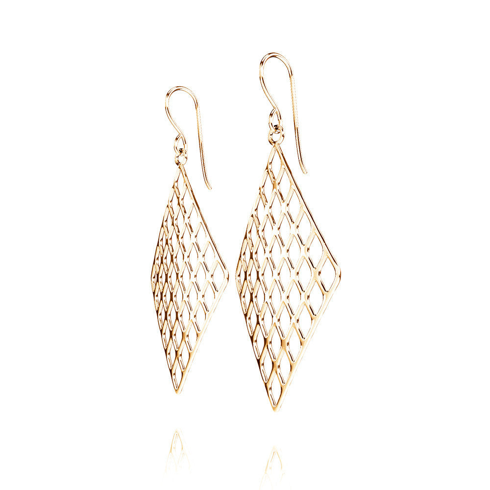 The GRID Earrings Diamond in 3D Printed 14k Gold Finished 925 Sterling SIlver
