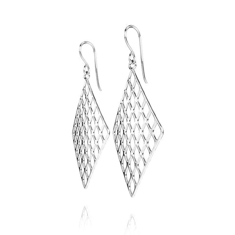 The GRID Earrings Diamond in 3D Printed Platinum Finished 925 Sterling SIlver