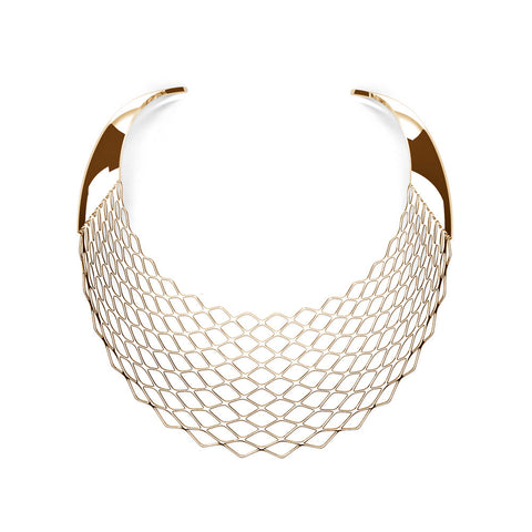 The GRID Necklace | Bib | 18k Gold Sterling