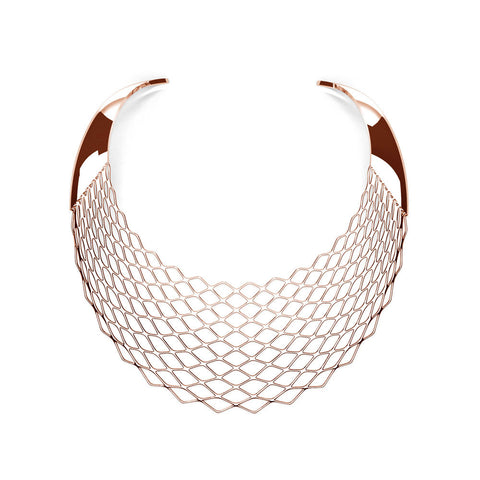 The GRID Necklace | Bib | 18k Rose Gold Sterling