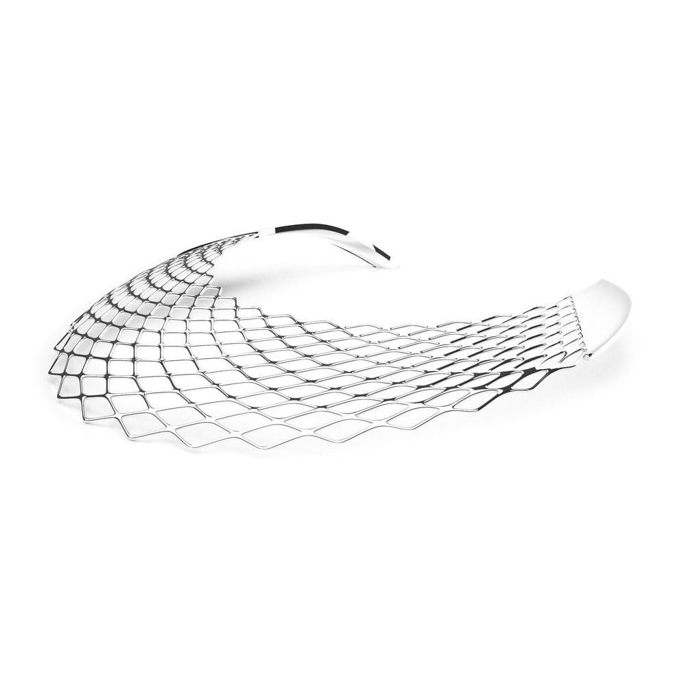 The GRID Necklace  Bib  in 3D Printed Platinum Finished 925 Sterling SIlver