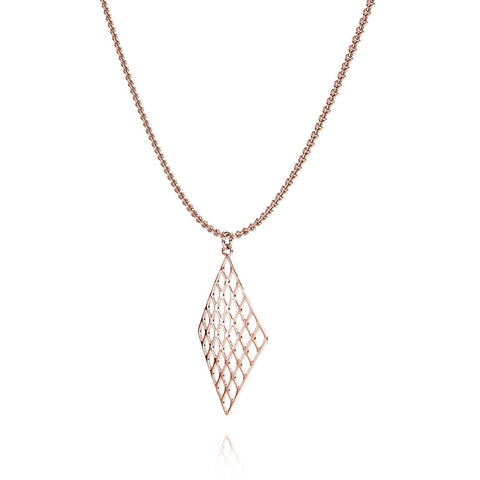 The GRID Necklace Diamond in 3D Printed 14k Rose Gold Finished 925 Sterling SIlver