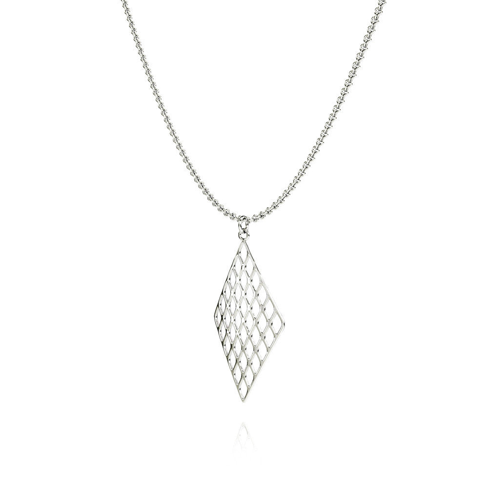 The GRID Necklace Diamond in 3D Printed Platinum Finished 925 Sterling SIlver