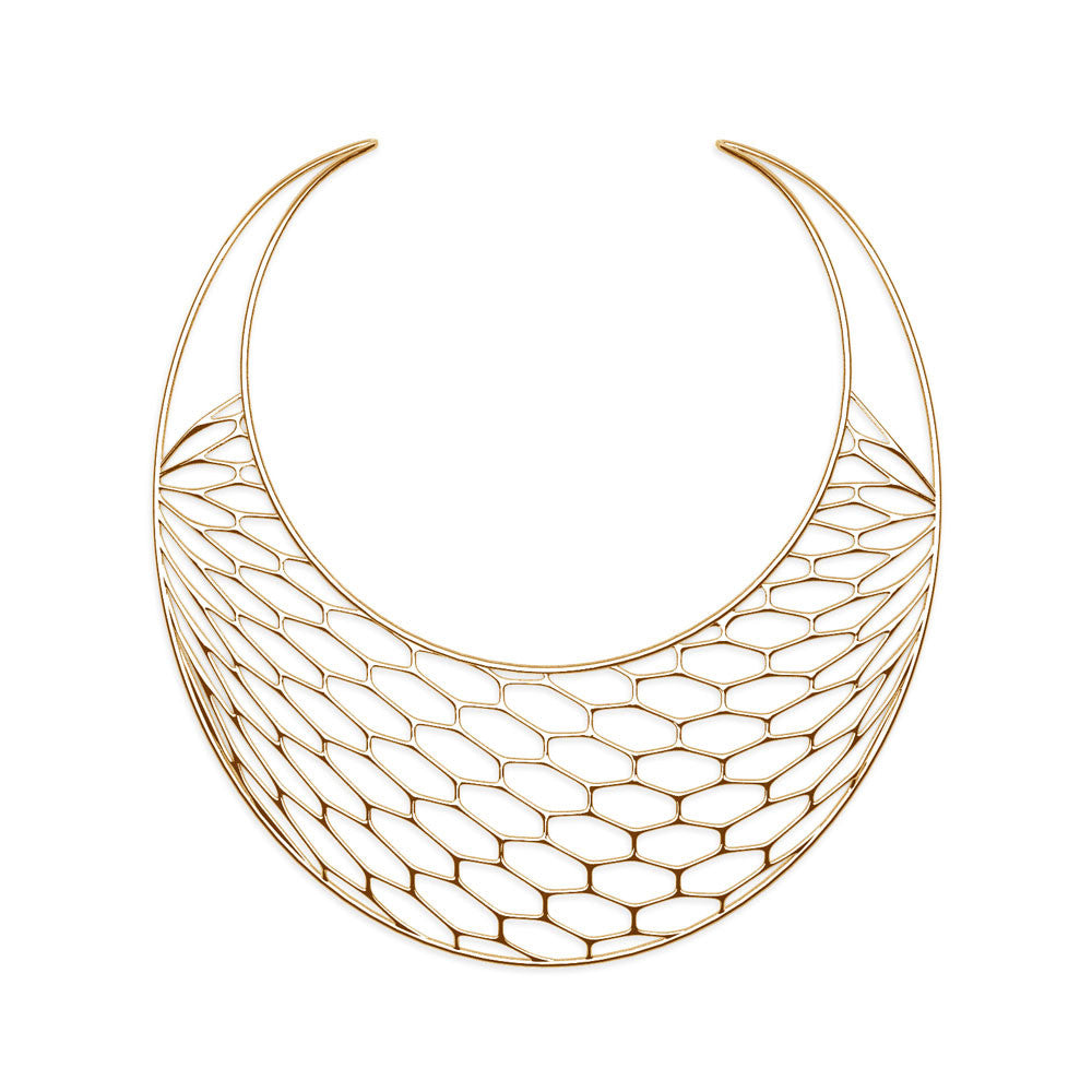 The Hive Necklace | Bib | 18k Gold Sterling
