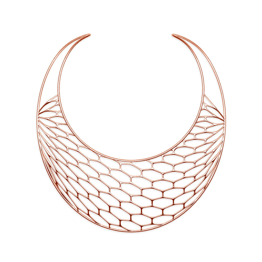 The HIVE Necklace | Bib | 14k Rose Gold Sterling