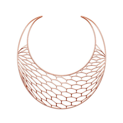 The HIVE Necklace | Bib | 18k Rose Gold Sterling