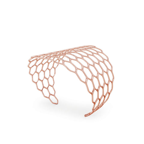 The HIVE Cuff Diamond in 3D Printed 14k Rose Gold Finished 925 Sterling SIlver