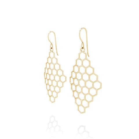 The HIVE Earrings Diamond in 3D Printed 14k Gold Finished 925 Sterling SIlver