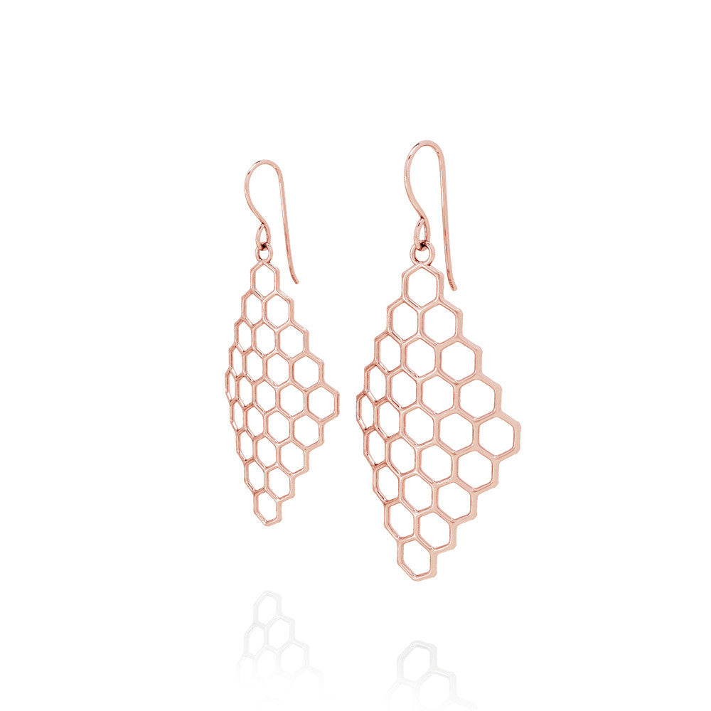 The HIVE Earrings Diamond in 3D Printed 14k Rose Gold Finished 925 Sterling SIlver