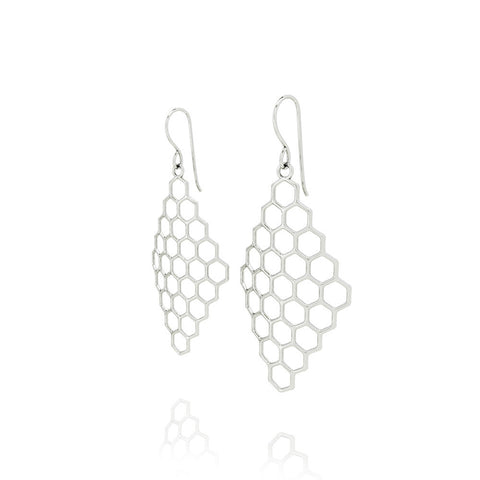The HIVE Earrings Diamond in 3D Printed Platinum Finished 925 Sterling SIlver