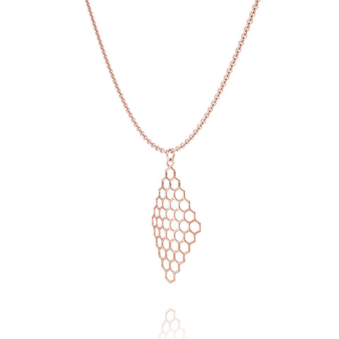 The HIVE Necklace Diamond in 3D Printed 14k Rose Gold Finished 925 Sterling SIlver