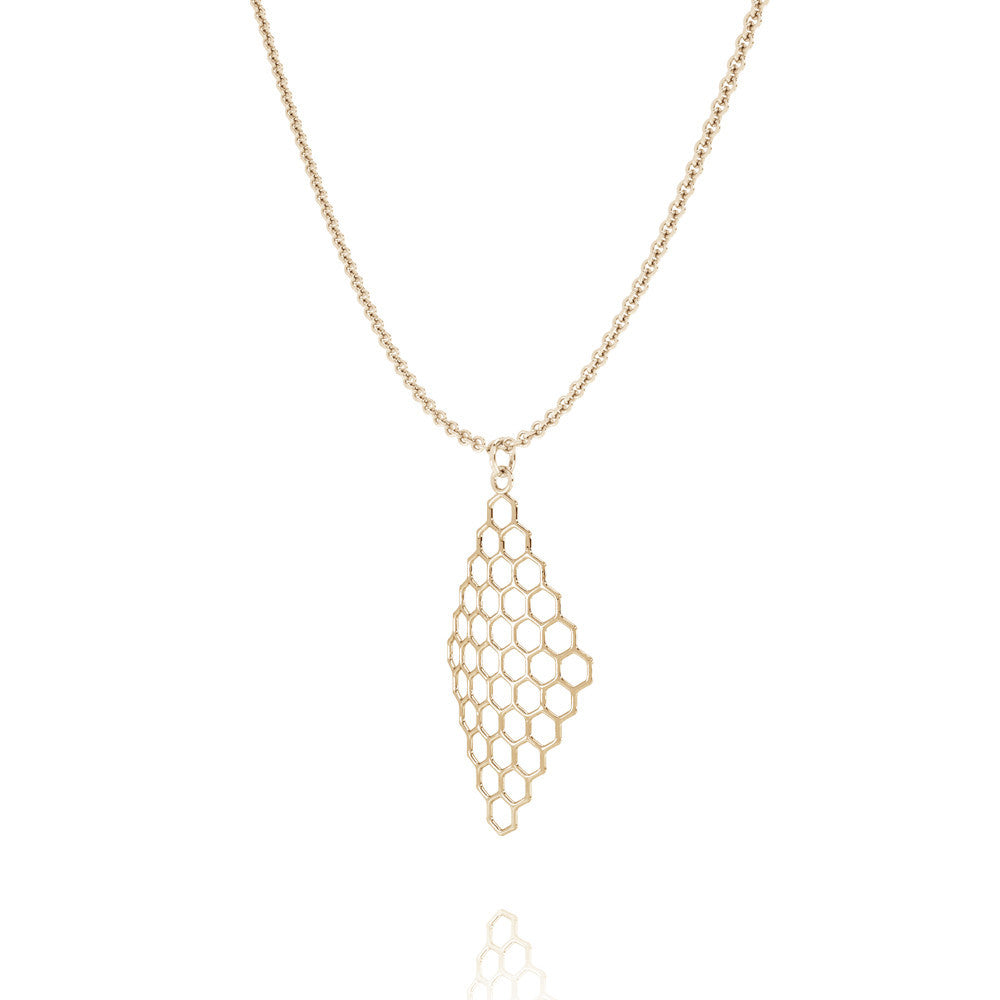The HIVE Necklace Diamond in 3D Printed 14k Gold Finished 925 Sterling SIlver