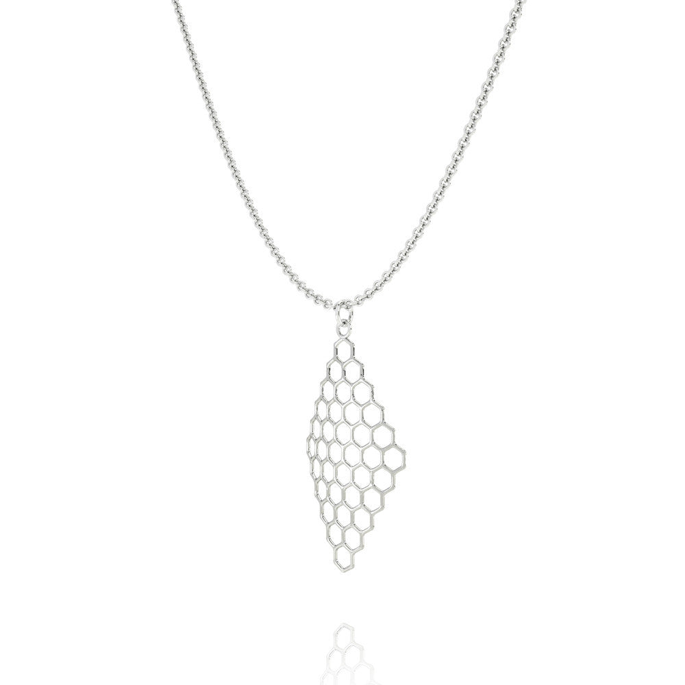 The HIVE Necklace Diamond in 3D Printed Platinum Finished 925 Sterling SIlver