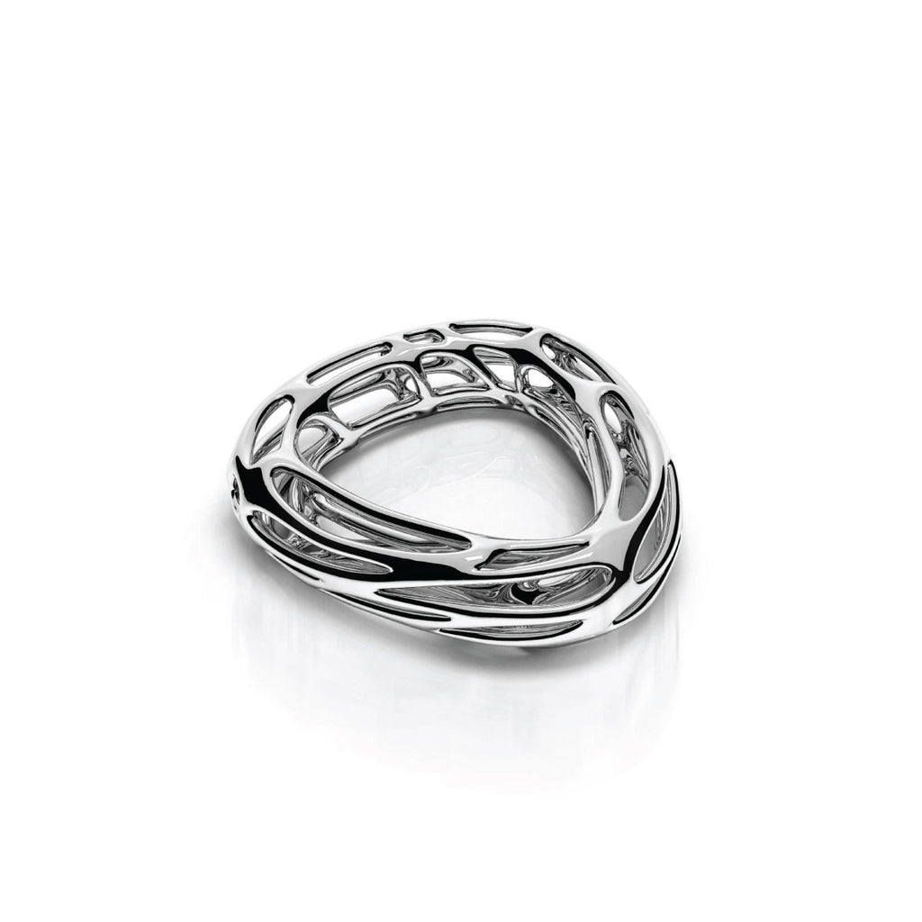The ZAHA Bangle | 14k Solid White Gold
