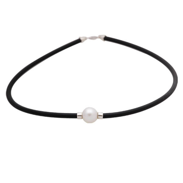 Sterling Silver Australian South Sea Cultured Pearl Neoprene Necklace