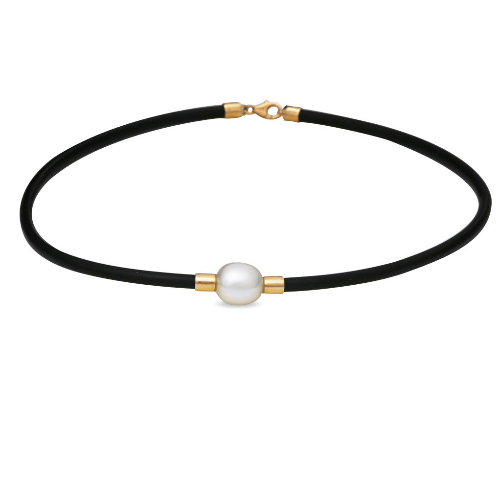 9K Yellow Gold Australian South Sea Cultured Pearl Neoprene Necklace