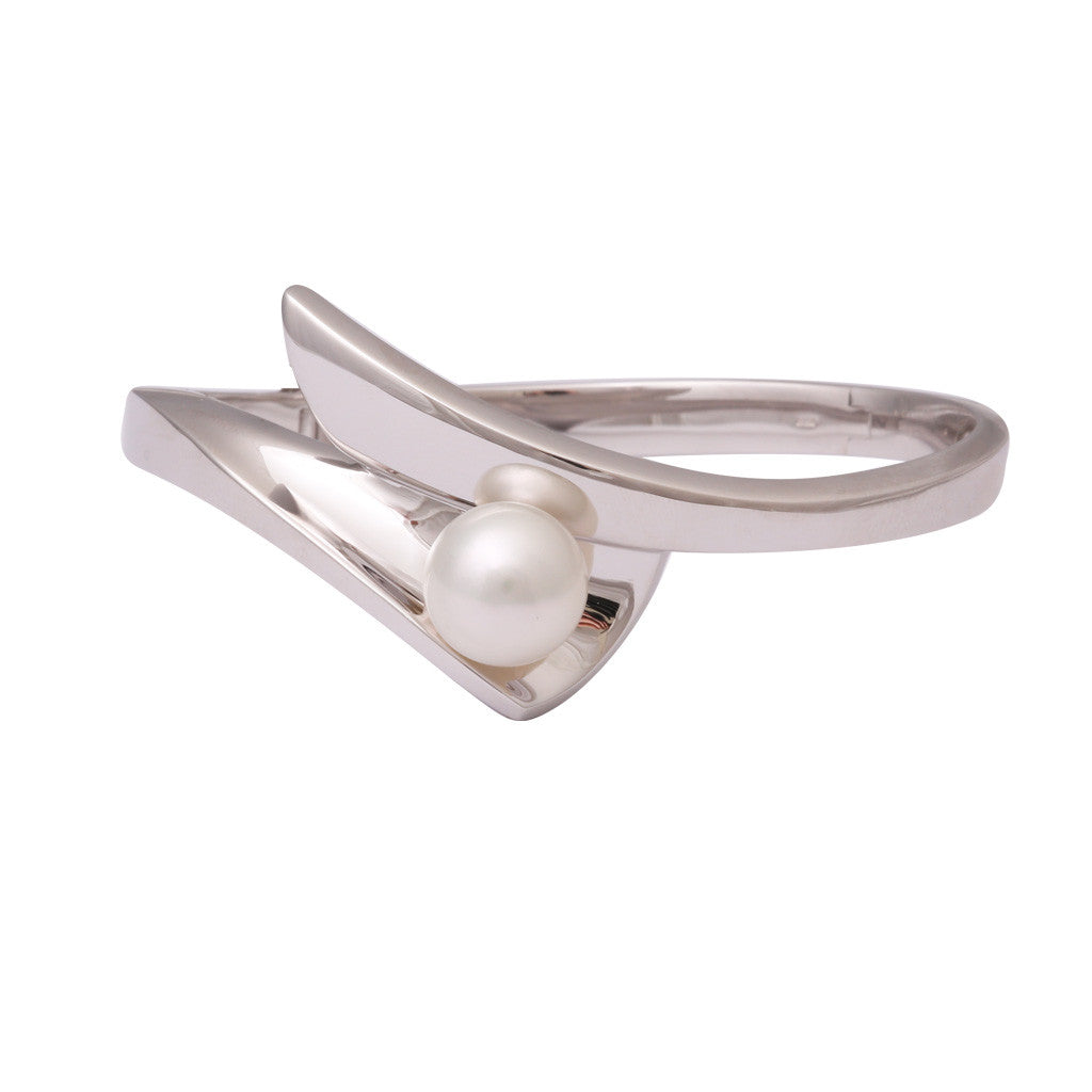 Sterling Silver Australian South Sea Cultured Pearl Bangle