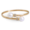 18K Yellow Gold Australian South Sea Cultured Pearl Bangle