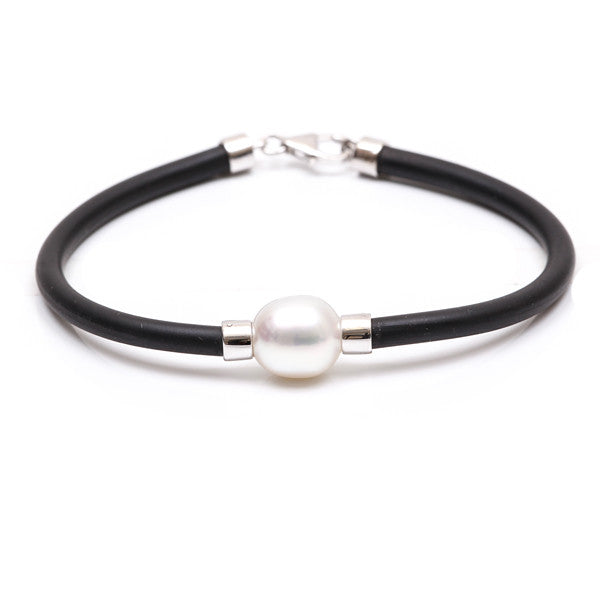 9K White Gold Australian South Sea Cultured Pearl Neoprene Bracelet