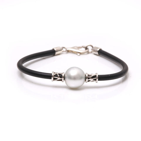 Sterling Silver Australian South Sea Cultured Pearl Neoprene Bracelet