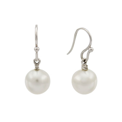 18K White Gold Australian South Sea Cultured Pearl Hook Earrings