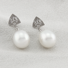 18K White Gold Australian South Sea Cultured Pearl Drop Earrings