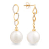 18K Yellow Gold Australian South Sea Cultured Pearl Drop Earrings
