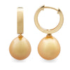 9K Yellow Gold South Sea Cultured Pearl Huggie Earrings