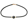 18K Yellow Gold Tahitian Cultured Black Pearl Neoprene Necklace