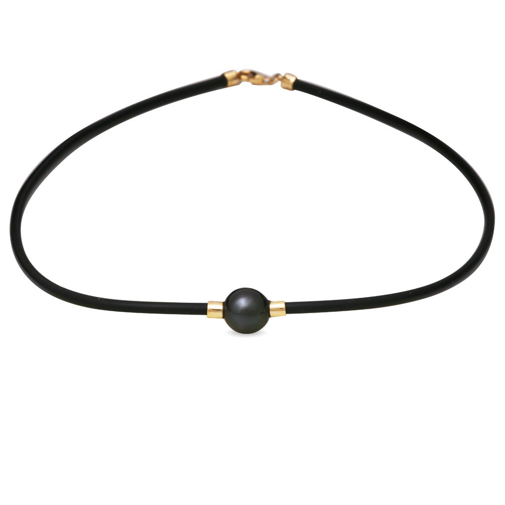 18K Yellow Gold Tahitian Cultured Pearl Neoprene Necklace