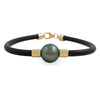 9K Yellow Gold Tahitian Cultured Black Pearl Neoprene Bracelet
