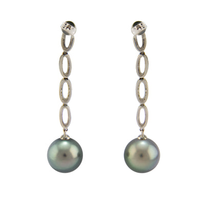 18K White Gold Tahitian Cultured Black Pearl Drop Earrings