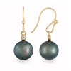 18K Yellow Gold Tahitian Cultured Black Pearl Hook Earrings