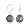 18K White Gold Tahitian Cultured Black Pearl Hook Earrings
